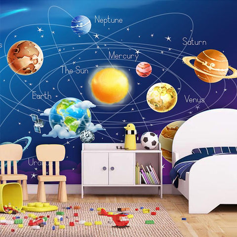 Image of Cartoon Planet Solar System Wallpaper Mural, Custom Sizes Available Household-Wallpaper Maughon's