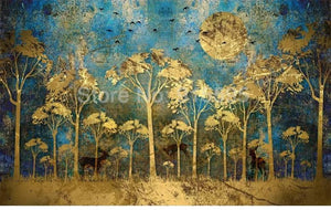 Chinese Style Abstract Golden Forest Wallpaper Mural, Custom Sizes Available