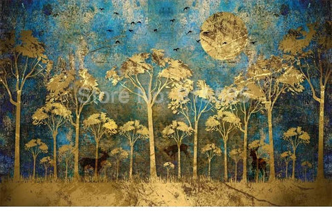 Image of Chinese Style Abstract Golden Forest Wallpaper Mural, Custom Sizes Available Household-Wallpaper Maughon's