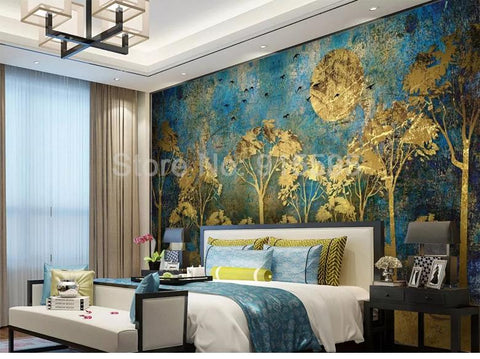Chinese Style Abstract Golden Forest Wallpaper Mural, Custom Sizes Available Household-Wallpaper Maughon's