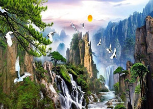 Chinese Style Landscape Paintings Wallpaper Mural, Custom Sizes Available