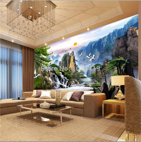 Image of Chinese Style Landscape Paintings Wallpaper Mural, Custom Sizes Available Household-Wallpaper Maughon's