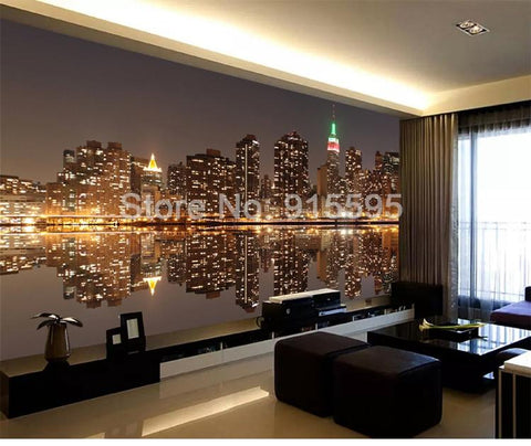 Image of City Night View Wallpaper Mural, Custom Sizes Available Household-Wallpaper Maughon's
