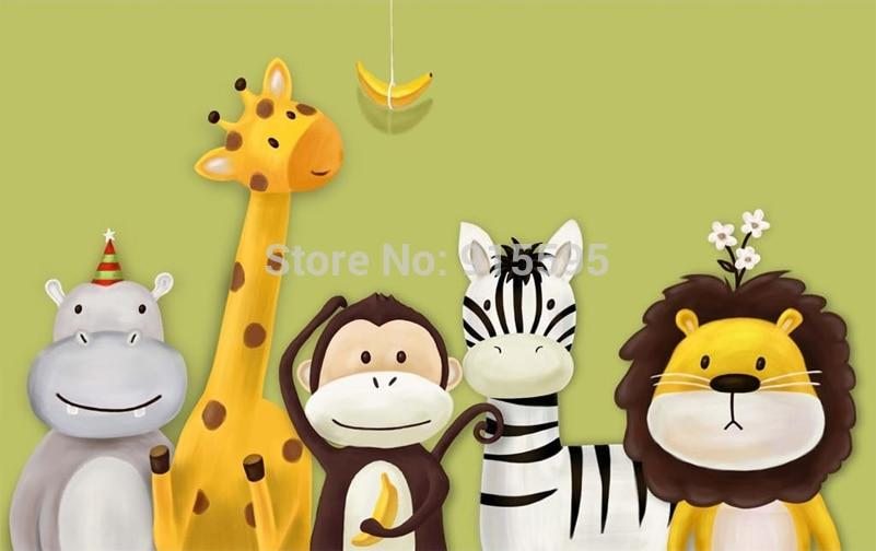 Cute Animals Wallpaper Mural, Custom Sizes Available Household-Wallpaper Maughon's