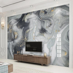 Dark Gray, Gray and White Marble Wallpaper Mural, Custom Sizes Available
