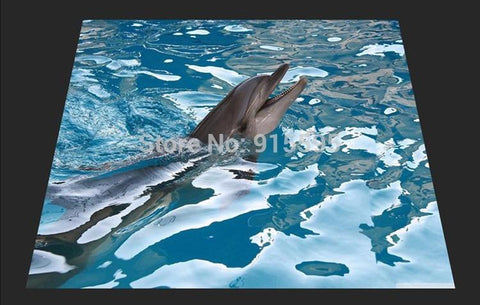 Dolphin at Play Vinyl PVC Floor Mural, Self Adhesive, Custom Sizes Available Household-Wallpaper-Floor Maughon's