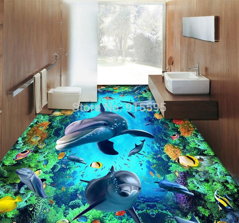 Dolphin, Coral and Topical Fish Vinyl PVC Floor Mural, Self Adhesive, Custom Sizes Available Household-Wallpaper-Floor Maughon's