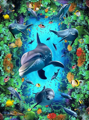 Dolphin, Coral and Topical Fish Vinyl PVC Floor Mural, Self Adhesive, Custom Sizes Available