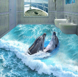 Dolphins in Waves Vinyl PVC Floor Mural, Self Adhesive, Custom Sizes Available Household-Wallpaper-Floor Maughon's