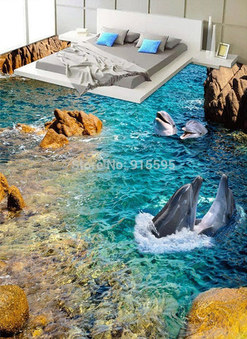 Dolphins Playing Near Shore Vinyl PVC Floor Mural, Self Adhesive, Custom Sizes Available Household-Wallpaper-Floor Maughon's