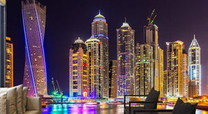 Dubai at Night Wallpaper Mural, Custom Sizes Available