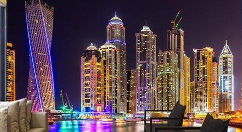 Dubai at Night Wallpaper Mural, Custom Sizes Available Household-Wallpaper Maughon's