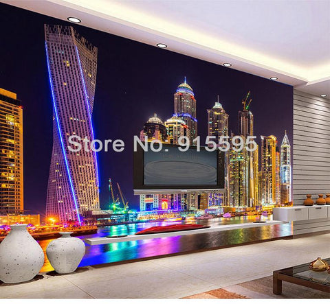 Image of Dubai at Night Wallpaper Mural, Custom Sizes Available Household-Wallpaper Maughon's