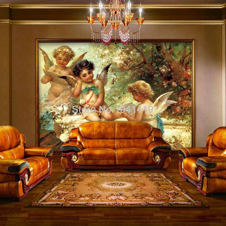 European Angel Oil Painting Wallpaper Mural, Custom Sizes Available Household-Wallpaper Maughon's