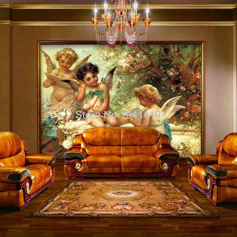 Image of European Angel Oil Painting Wallpaper Mural, Custom Sizes Available Household-Wallpaper Maughon's
