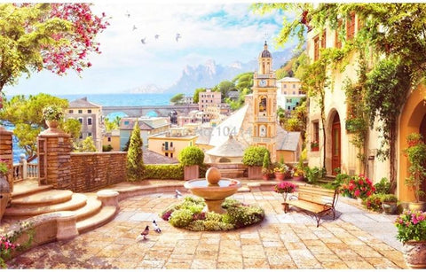 Image of European Garden Town With Fountain Wallpaper Mural, Custom Sizes Available Household-Wallpaper Maughon's