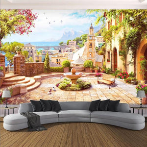 European Garden Town With Fountain Wallpaper Mural, Custom Sizes Available Household-Wallpaper Maughon's