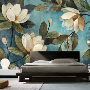 European Painting Magnolias Wallpaper Mural, Custom Sizes Available