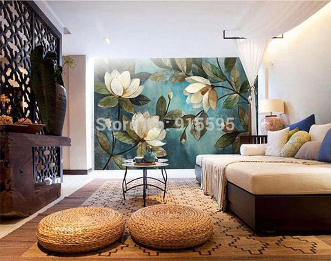 Image of European Painting Magnolias Wallpaper Mural, Custom Sizes Available Household-Wallpaper Maughon's