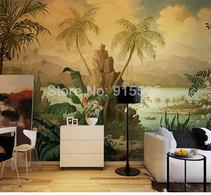European Retro  Banana Coconut Tree Wallpaper Mural, Custom Sizes Available
