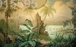 Image of European Retro Banana Coconut Tree Wallpaper Mural, Custom Sizes Available Household-Wallpaper Maughon's
