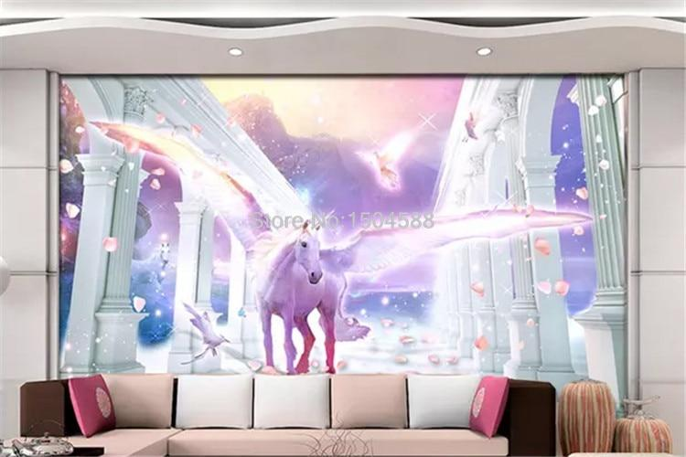 European Romantic Unicorn Wallpaper Mural, Custom Sizes Available Household-Wallpaper Maughon's