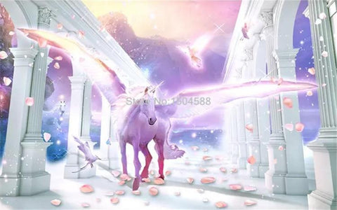 Image of European Romantic Unicorn Wallpaper Mural, Custom Sizes Available Household-Wallpaper Maughon's