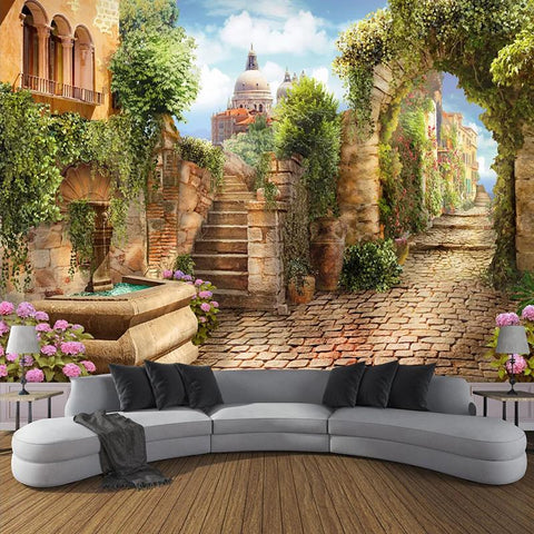 European Small Town Street View Wallpaper Mural, Custom Sizes Available Household-Wallpaper Maughon's
