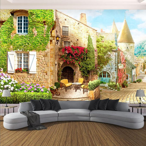 European Street Scene Cafe Wallpaper Mural, Custom Sizes Available Household-Wallpaper Maughon's