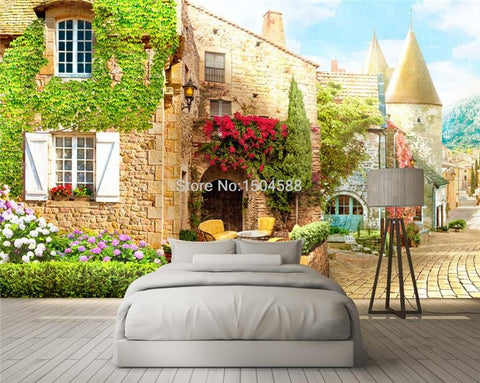 Image of European Street Scene Cafe Wallpaper Mural, Custom Sizes Available Household-Wallpaper Maughon's