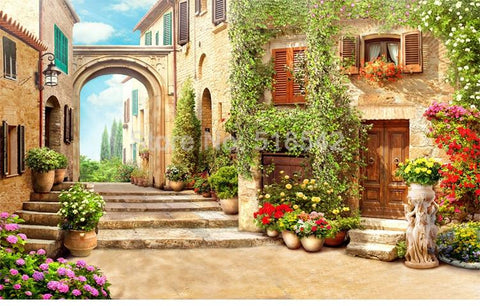 Image of European Street View With Arch Wallpaper Mural, Custom Sizes Available Household-Wallpaper Maughon's