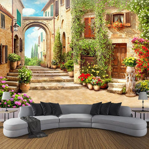 European Street View With Arch Wallpaper Mural, Custom Sizes Available