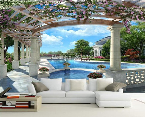 Image of European Style Garden Swimming Pool Wallpaper Mural, Custom Sizes Available Household-Wallpaper Maughon's