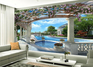 European Style Garden Swimming Pool Wallpaper Mural, Custom Sizes Available Household-Wallpaper Maughon's