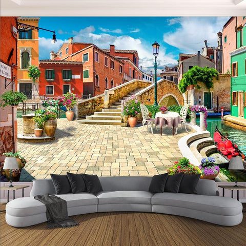 European Town City Street Wallpaper Mural, Custom Sizes Available Household-Wallpaper Maughon's