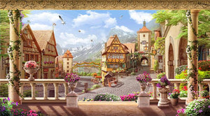 Fairy Tales Town Wallpaper Mural, Custom Sizes Available