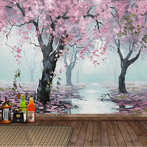 Flowering Cherry Trees Wallpaper Mural, Custom Sizes Available Household-Wallpaper Maughon's