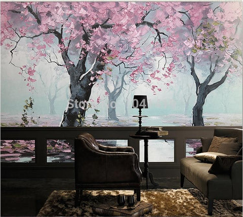 Image of Flowering Cherry Trees Wallpaper Mural, Custom Sizes Available Household-Wallpaper Maughon's