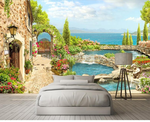 Garden Landscape Background Wallpaper Mural, Custom Sizes Available Household-Wallpaper Maughon's