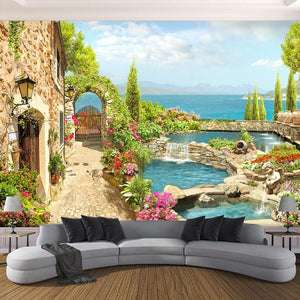 Garden Landscape Background Wallpaper Mural,  Custom Sizes Available