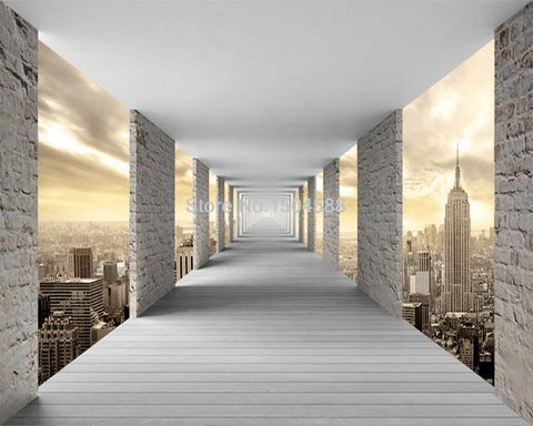 Image of Geometric City Infinity Hallway Wallpaper Mural, Custom Sizes Available Household-Wallpaper Maughon's