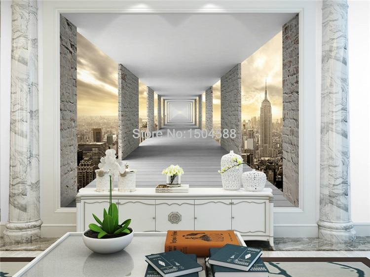 Geometric City Infinity Hallway Wallpaper Mural, Custom Sizes Available Household-Wallpaper Maughon's
