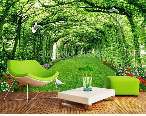 Image of Green Forest Tree Lawn Mural Wallpaper, Custom Sizes Available Household-Wallpaper Maughon's