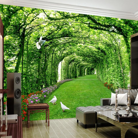 Green Forest Tree Lawn Mural Wallpaper, Custom Sizes Available Household-Wallpaper Maughon's