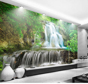 Green Forest Waterfall Landscape Wallpaper Mural, Custom Sizes Available Household-Wallpaper Maughon's