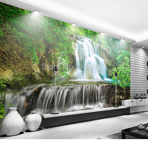 Image of Green Forest Waterfall Landscape Wallpaper Mural, Custom Sizes Available Household-Wallpaper Maughon's