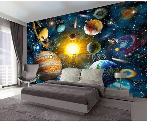 Hand Painted Cartoon Universe Wallpaper Mural, Custom Sizes Available Household-Wallpaper Maughon's