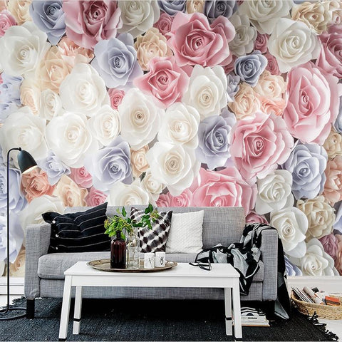 Image of Hand Painted Garden Roses Wallpaper Mural, Custom Sizes Available Household-Wallpaper Maughon's