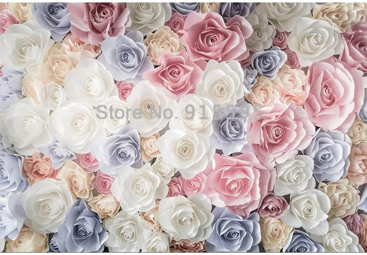 Hand Painted Garden Roses Wallpaper Mural, Custom Sizes Available Household-Wallpaper Maughon's