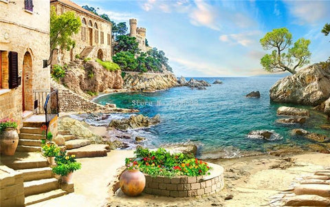 Image of Italian Seaside Vista Wallpaper Mural, Custom Sizes Available Household-Wallpaper Maughon's